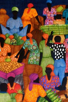 Learn About The Robust And Attractive African Art - Bored Art Patchwork Quilting, Applique Quilts, African Quilts, Afrique Art, Caribbean Art, Landscape Quilts, Wow Art, African American Art, Naive Art