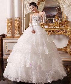 婚纱礼服2016新款新娘时尚抹胸齐地宫廷长拖尾结婚大码显瘦公主裙