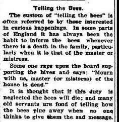 Bees: Funerals Interrupted and Death Superstitions   The Dead Bell