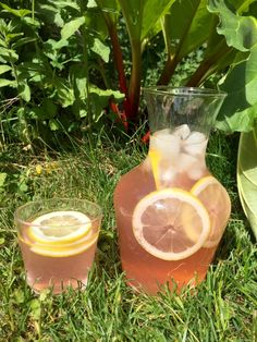 En söt och syrlig läskande rabarberlemonad som smakar ljuvlig i solen! Cocktail Drinks, Fun Drinks, Yummy Drinks, Alcoholic Drinks, Beverages, Cocktails, Chutney, Veggie Recipes, Cooking Recipes