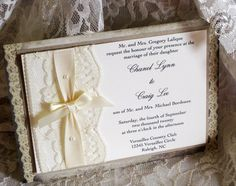 New Year Sale Lace Wedding Invitations, French Market Elegant, Shabby Chic, Vintage Inspired, Haute Couture Invitations. $8.00, via Etsy.