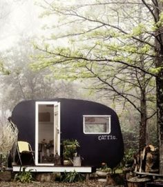 Vintage trailer camping in the woods--I love these little canned ham trailers. Glamping, Vintage Caravans, Vintage Travel Trailers, Vintage Campers, Mini Loft, Motorhome, Dream Cars, Tiny House, Rest House
