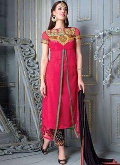 Fantastic Pink Embroidered Georgette Festival Wear Churidar Suit  #Suits #Salwar   http://www.angelnx.com/Salwar-Kameez