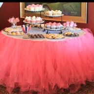 DIY tutu table skirt for baby shower dessert table But I mostly love the dessert table set up.for any my friends I can do a dessert table like this :) Baby Shower Table, Shower Party, Bridal Shower, 1st Birthday Parties, Girl Birthday, Birthday Ideas, Tutu Table, Diy Tutu, Ballerina Party