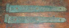 Farm Barn Door Strap Hinges Traces of Old Green Paint Antique Country Home | eBay
