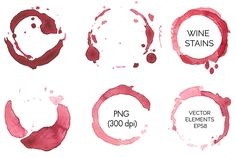 Check out Vector set of red wine stains by mcherevan on Creative Market Irresistible little bits of grungeyness for your designs. Texture Drawing, Texture Art, Texture Painting, Business Illustration, Pencil Illustration, Watercolor Background, Watercolor And Ink, Wine Ring, Red Wine Stains