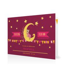 Geburtskarte Traumland in Brombeer - Klappkarte flach #Geburt #Geburtskarten #Mädchen #Foto #kreativ https://www.goldbek.de/geburt/geburtskarten/maedchen/geburtskarte-traumland?color=brombeer&design=af624&utm_campaign=autoproducts