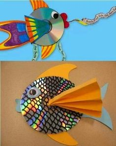 13 kid-friendly crafts using recyclables Rainbow fish craft? with recycled cd's! Would do this double-sided and hang them from the ceiling to catch the sunlight. The post 13 kid-friendly crafts using recyclables appeared first on Knutselen ideeën. Kids Crafts, Summer Crafts, Projects For Kids, Craft Projects, Arts And Crafts, Craft Ideas, Recycled Crafts For Kids, Crafts For Children, Crafts With Cds