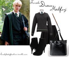 """Female Draco Malfoy"" by nearlysamantha ❤ liked on Polyvore Harry Potter Twins, Harry Potter Style, Harry Potter Images, Harry Potter Outfits, Slytherin, Hogwarts, Fandom Fashion, Geek Fashion, Draco Malfoy Costume"