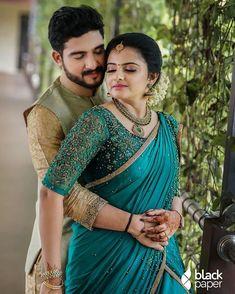 Kerala Engagement Dress, Engagement Saree, Engagement Dresses, Wedding Saree Blouse Designs, Saree Wedding, Couple Photoshoot Poses, Wedding Photoshoot, Christian Bridal Saree, Bride Reception Dresses