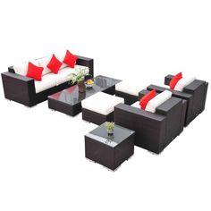 Outsunny 7pc PE Rattan Wicker Sectional Patio Sofa Furniture Set - Walmart.com 1,199.95