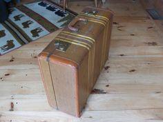 Large Vintage Tweed Suitcase Striped Mustard