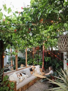We have two fast-growing, seasonal vines in the garden of our tiny house: grapevines, and trumpet vines. Small Courtyard Gardens, Small Courtyards, Small Gardens, Patio Canopy, Canopy Outdoor, Outdoor Decor, Outdoor Living, Outdoor Ideas, Outdoor Spaces