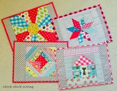 chick chick sewing: Patchwork Placemats for my Sis ♪パッチワークのランチョンマットを妹に...