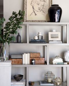 Your guide to a perfectly styled book case or open shelf! Shop all our new accessories to get the look | Alice Lane Home Bookshelf Styling, Bookshelves, Bookcase, Alice Lane Home, Wood Beds, Home Collections, Open Shelving, Home Interior Design, Cool Furniture
