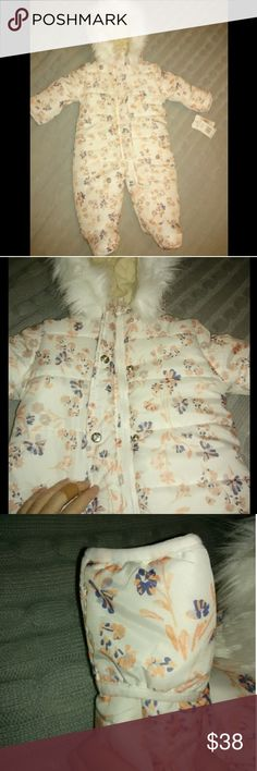Jessica Simpson❤️Snowsuit Adorable floral print snowsuit by Jessica Simpson. Size 3-6 months but would definitely fit up to 9 mos I'd say. Measurements are on tag on very last picture. Tags are attached, never worn. Paid $85. Features white fur hood that is detachable, hands have fold over mittens, inside is super, super soft and cozy. Perfect to keep baby warm and looking adorable! Pricing at over 50%off. Feel free to make a fair offer! Jessica Simpson Jackets & Coats Puffers
