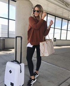 Travel Outfit Ideas Collection airport outfit ideas what you should wear travel one oh one Travel Outfit Ideas. Here is Travel Outfit Ideas Collection for you. Travel Outfit Ideas how to travel with style just trendy girls. Comfy Travel Outfit, Winter Travel Outfit, Travel Attire, Travel Wear, Comfy Outfit, Mode Outfits, Winter Outfits, Summer Outfits, Stylish Outfits