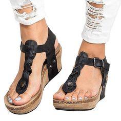 e38481601e Peep Toe PU Blocking Hook-Loop Wedge Sandals. Heeled Flip FlopsWedge HeelsPeepsPeep  ToeMe Too ShoesWedgesSummer SandalsShoes WomenFashion Shoes