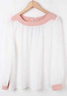 White Long Sleeve Contrast Trims Pleated Chiffon Blouse