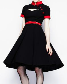 Hell Bunny Poesy Dress - retro swing vintage rockabilly black red I'd love to see this teamed with the black (red tipped) petticoat! 50s Dresses, Prom Party Dresses, Vintage Dresses, Fashion Dresses, Prom Dress, 50s Vintage, Nice Dresses, Wedding Dress, Swing Dress 50s