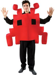 Rood space invader kostuum voor mannen