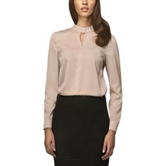 Misebla Beige Blouse With Stand-Up Collar And Tear Drop Opening   Beige by Misebla Collections on brandsExclusive