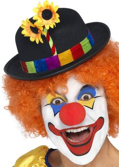 Buy your clown bowler to match your clown costume in parties from the Halloween Spot. It's a black coloured clown bowler with Multi Colour Band and Flower. Clown Hat, Le Clown, Clown Faces, Circus Clown, Costume Clown, Circus Theme, Circus Party, Clown Fancy Dress, Fancy Dress Hats