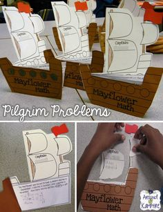 """""""Mayflower Math""""...... During our study of Plymouth colony we tied in math and solved word problems dealing with things the Pilgrims may have faced.....Follow for Free """"too-neat-not-to-keep"""" teaching tools & other fun stuff :)"""