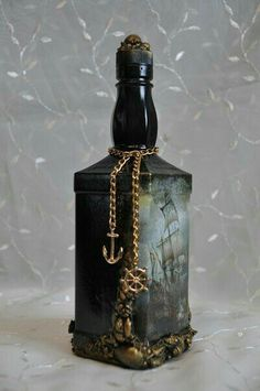 Decorative Bottles : Новости -Read More – Recycled Wine Bottles, Wine Bottle Art, Diy Bottle, Wine Bottle Crafts, Potion Bottle, Liquor Bottles, Bottles And Jars, Glass Bottles, Perfume Bottles