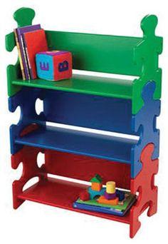 Kidkraft Kids Reading Book Storage Organizer Wooden Puzzle Book Shelf Primary - modern - Toy Storage -