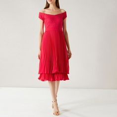 Delicate, feminine and modern, this midi dress ticks every box. Designed with a Bardot neckline that shows off your décolletage, the pleated skirt moves fluidly when you walk (or dance). Pleated Midi Dress, Lace Maxi, Belted Dress, Coast Dress, Bardot Dress, Feather Dress, Lace Jumpsuit, Asymmetrical Tops, Lace Corset