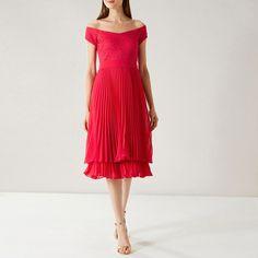Coast Raspberry 'Archie' Pleated Midi Dress | Debenhams