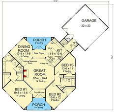 Octagonal Cottage Home Plan - floor plan - Main Level Cottage House Plans, Dream House Plans, Small House Plans, Cottage Homes, Granny Flat Plans, Octagon House, Bamboo House Design, Earth Bag Homes, Silo House