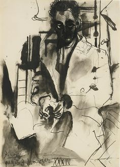 Pablo Picasso (Spanish, 1881-1973), Portrait de Man Ray, January 3, 1934. Pen, brush and ink on paper, 35 x 24.7 cm.