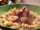 Beer Braised Shrimp with Louisiana Salsa and Rice Recipe : Rachael Ray : Food Network Minus the beer for me Green Rice Recipe, Green Bean Recipes, Rice Recipes, Seafood Recipes, Yummy Recipes, Chefs, 30 Min Meals, Shrimp And Rice, Salsa Picante