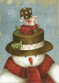 This would be a cutie painted on wood. Christmas Scenes, Christmas Pictures, Christmas Snowman, Winter Christmas, All Things Christmas, Vintage Christmas, Christmas Time, Christmas Ornaments, Merry Christmas