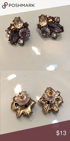 Dark Purple Jewel Tone Earrings Preowned dark purple tone pierced earrings. No trades, price final unless bundled. Jewelry Earrings