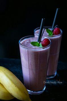 Vegan Breakfast Smoothie (coconut milk, cashew, raspberry, blueberry ...