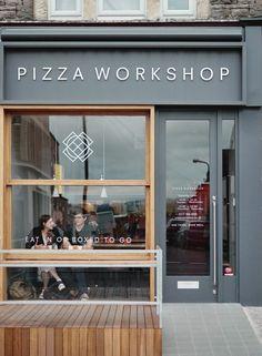 Small pizza, retail facade, shop facade, cafe exterior, restaurant exterior d Design Shop, Coffee Shop Design, Shop Front Design, Shop Interior Design, Cafe Design, Retail Design, Signage Design, Store Design, Restaurant Exterior Design