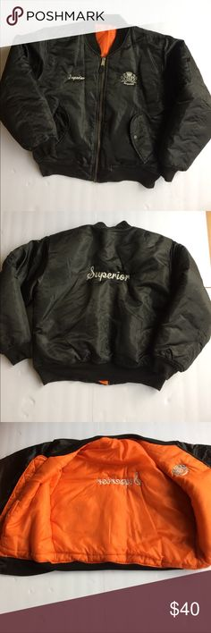 """Rothco Flyer's Man Jacket Black Rothco Flyer's Man Intermediate MA-1 Jacket. Embroidered with """"Superior"""" front & back. Great condition! Size Large Rothco Jackets & Coats"""