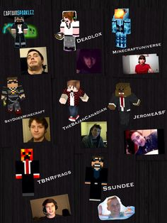 Collage of minecraft YouTubers! CaptainSparklez, SkyDoesMinecraft, JeromeASF, BajanCanadian, Deadlox, TBNRfrags, Ssundee, and Minecraftuniverse!