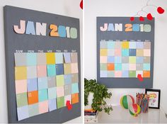 Use paint chips to DIY this calendar.