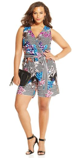 347333a6ef3 NY Collection Plus Size Printed Romper - Jumpsuits   Rompers - Plus Sizes -  Macy s