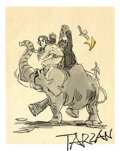 Masuo's Disney Movie Sketches Tarzan Disney Artwork, Disney Fan Art, Disney Love, Disney Magic, Disney Dream, Tarzan Disney, Disney And Dreamworks, Disney Pixar, Disney Characters