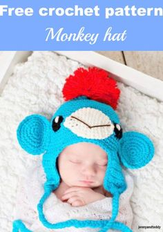 Free Crochet Patterns For Monkey Hats : 1000+ images about Baby & Preemie Stuff, Crochet, Knit ...