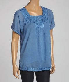 Look what I found on #zulily! Blue Embroidered Square-Neck Top #zulilyfinds
