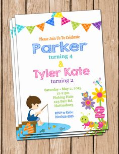 Joint birthday party invitation boy girl girl girl boy boy fishing and flowers birthday party invitation joint by daxyluu stopboris Images