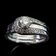 Vintage .30ct Diamond 14k White Gold Engagement Ring Wedding Band Set Mid Century I WOULD DIE!