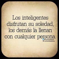 〽️Los inteligentes disfrutan de su soledad, los demás la llenan con cualquier persona...