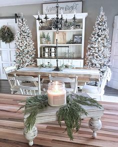 36 Christmas Home Decor Ideas for Your Beautiful Home farmhouse christmas, rustic holiday style, flocked Christmas trees, natural Christmas decorations, Holiday decorating ideas Decoration Christmas, Farmhouse Christmas Decor, Rustic Christmas, Xmas Decorations, Farmhouse Decor, Holiday Decorating, Decorating Ideas, Decor Ideas, Rustic Decor